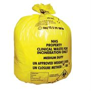 yellow clinical waste sacks medium duty - BA127